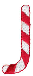 Candy Cane J embroidery design
