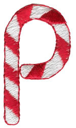 Candy Cane P embroidery design