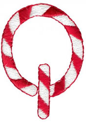 Candy Cane Q embroidery design