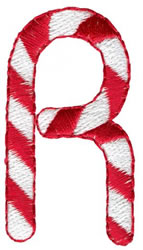 Candy Cane R embroidery design