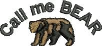 Call Me Bear embroidery design