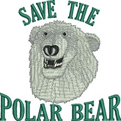 Save Polar Bear embroidery design