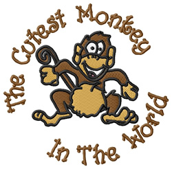 Cutest Monkey embroidery design