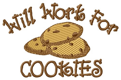 Will Work for Cookies embroidery design