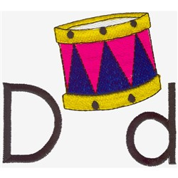 D is for Drum embroidery design