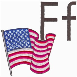F is for Flag embroidery design