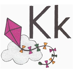 K is for Kite embroidery design