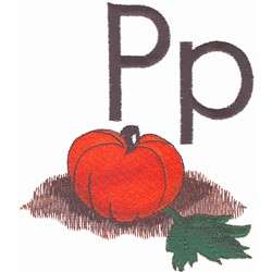 P is for Pumpkin embroidery design