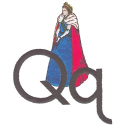 Q is for Queen embroidery design