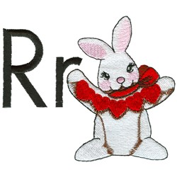 R is for Rabbit embroidery design
