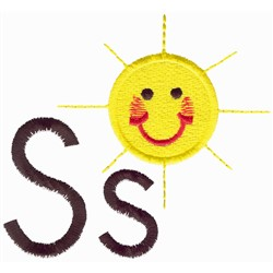 S is for Sun embroidery design