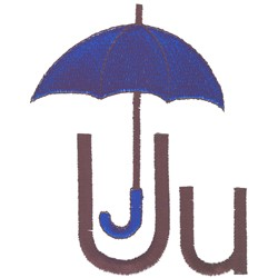 U is for Umbrella embroidery design
