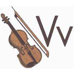 V is for Violin embroidery design