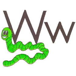 W is for Worm embroidery design