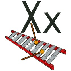 X is for Xylophone embroidery design