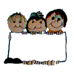 Buddies Holding Sign embroidery design