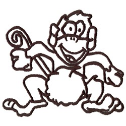 Monkey Outline embroidery design