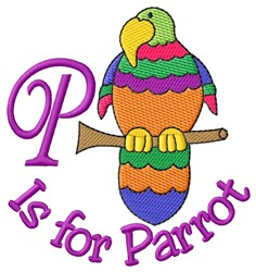 P is for Parrot embroidery design
