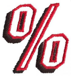 Club 2 % Sign embroidery design