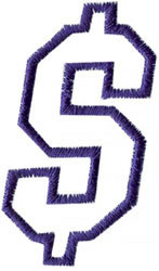 Club 4 Dollar Sign embroidery design
