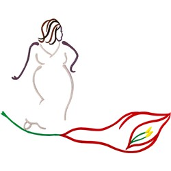 Abstract woman embroidery design