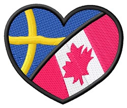 Two Flags Heart embroidery design
