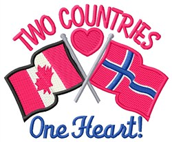 One Heart & Flags embroidery design