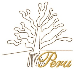 Nazca Lines Tree Peru embroidery design