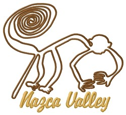 Monkey Nazca Lines Valley embroidery design