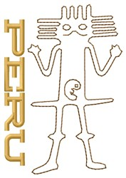 Peru Astronaut Nazca Lines embroidery design