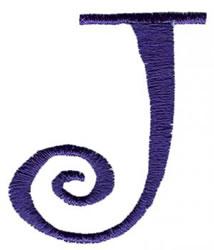 Curlz J embroidery design