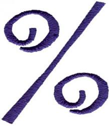 Curlz Percentage Sign embroidery design