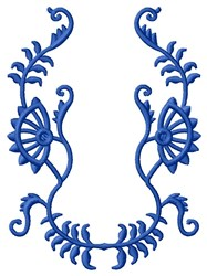 Blue Floral Frame embroidery design