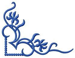 Blue Flower Corner embroidery design