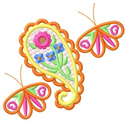 Paisley & Butterflies embroidery design