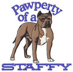 Pawperty Of Staffy embroidery design