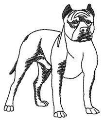 Staffy Outline embroidery design