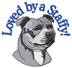 Loved By Staffy embroidery design