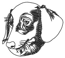 Dachshund Head Outline embroidery design