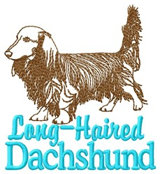 Long-Haired Dachshund embroidery design