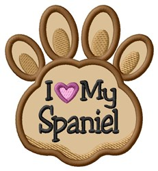 Love My Spaniel Paw Applique embroidery design