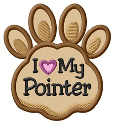 Love My Pointer Paw Applique embroidery design