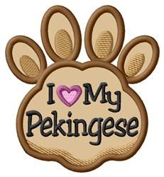 Love My Pekingese Paw Applique embroidery design