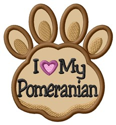 Love My Pomeranian Paw Applique embroidery design