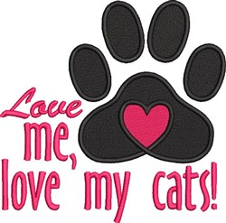 Love My Cats embroidery design