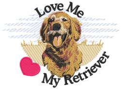 Love Me Retriever embroidery design