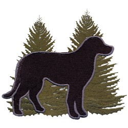 Labrador and Trees embroidery design