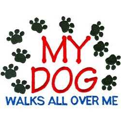 Dog Walks Paws embroidery design