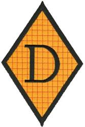 Diamond Applique D embroidery design