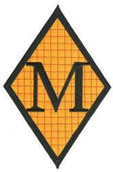 Diamond Applique M embroidery design